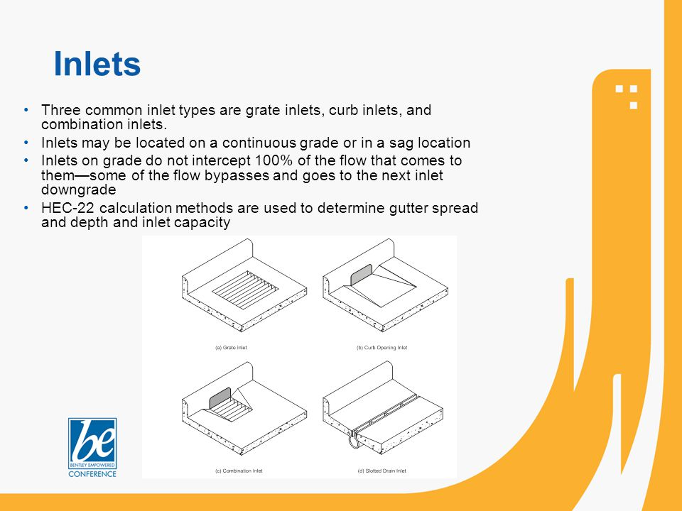 Inlets Three common inlet types are grate inlets, curb inlets, and combination inlets.