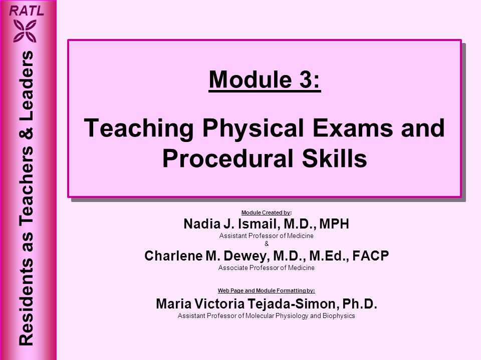 Module 3: Teaching Physical Exams and Procedural Skills