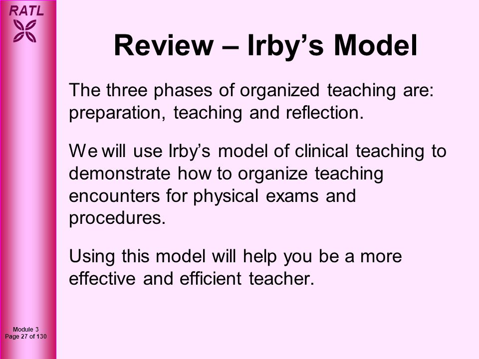 Review – Irby's Model The three phases of organized teaching are: preparation, teaching and reflection.