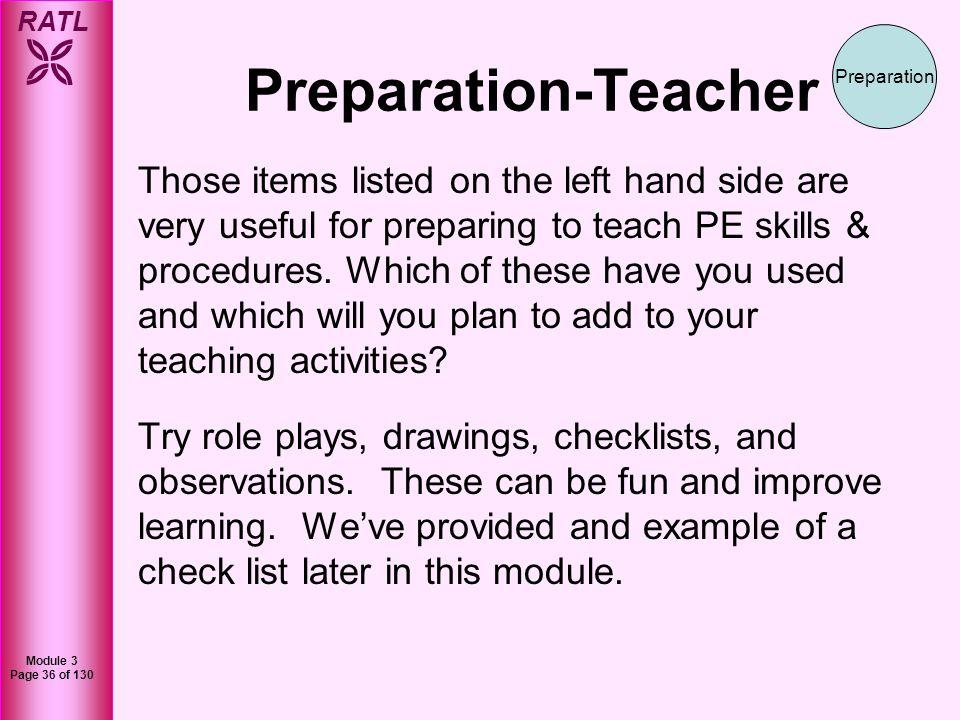 Preparation-Teacher Preparation.