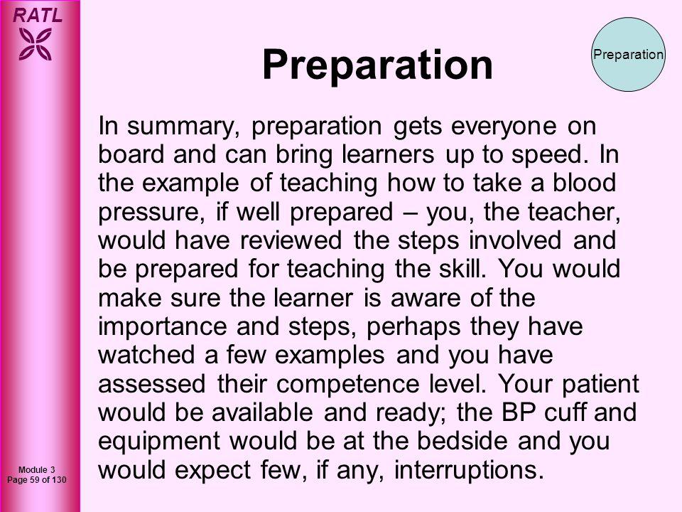 Preparation Preparation.