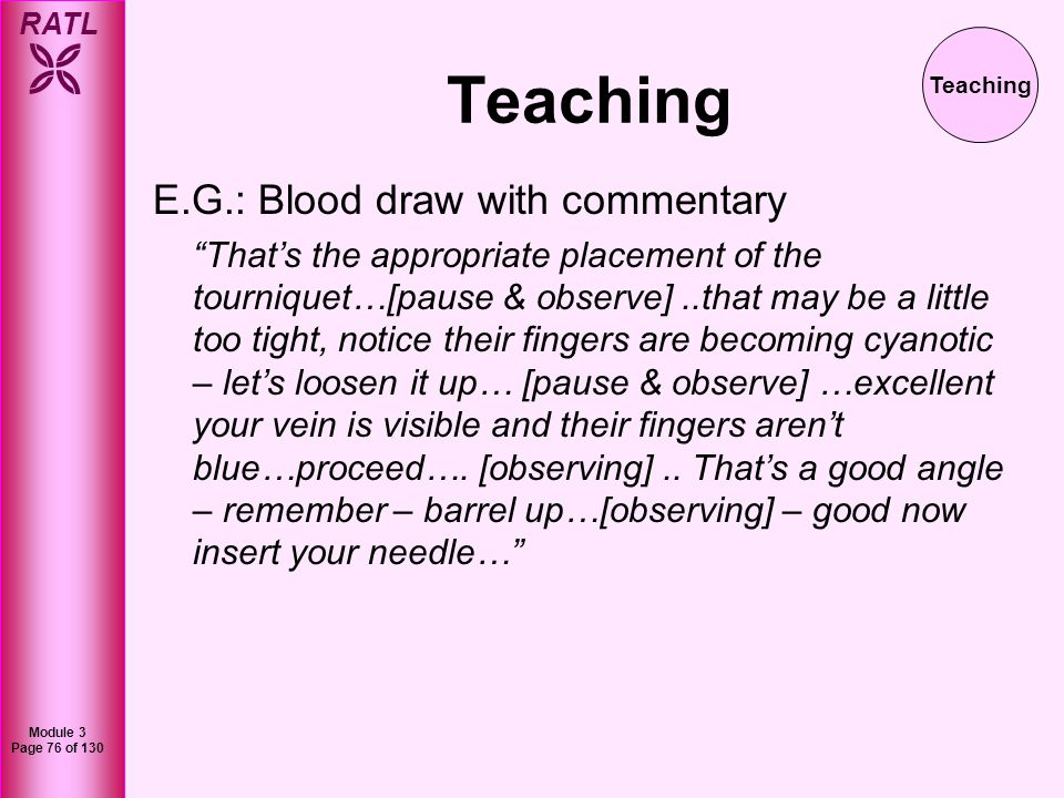 Teaching E.G.: Blood draw with commentary