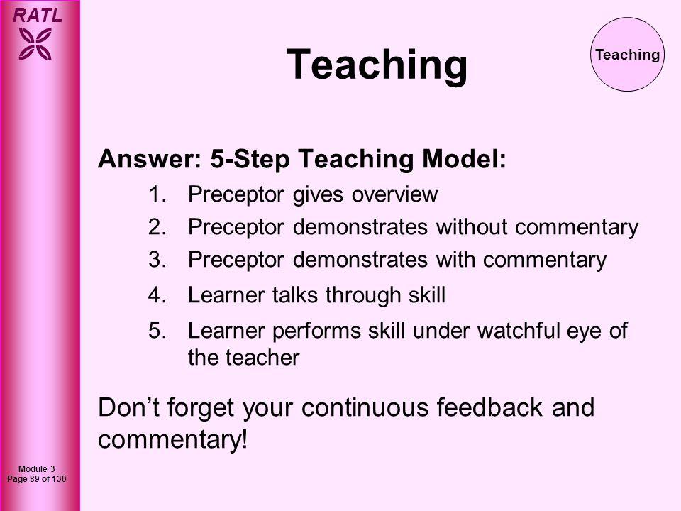 Teaching Answer: 5-Step Teaching Model: