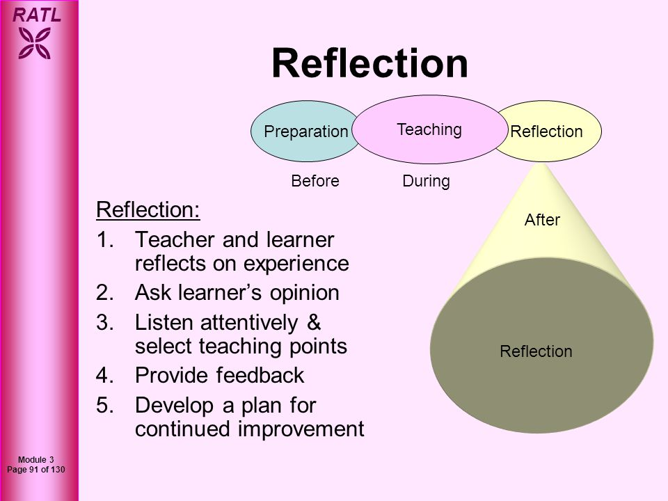 Reflection Reflection: Teacher and learner reflects on experience
