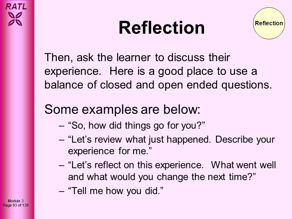 Reflection Some examples are below: