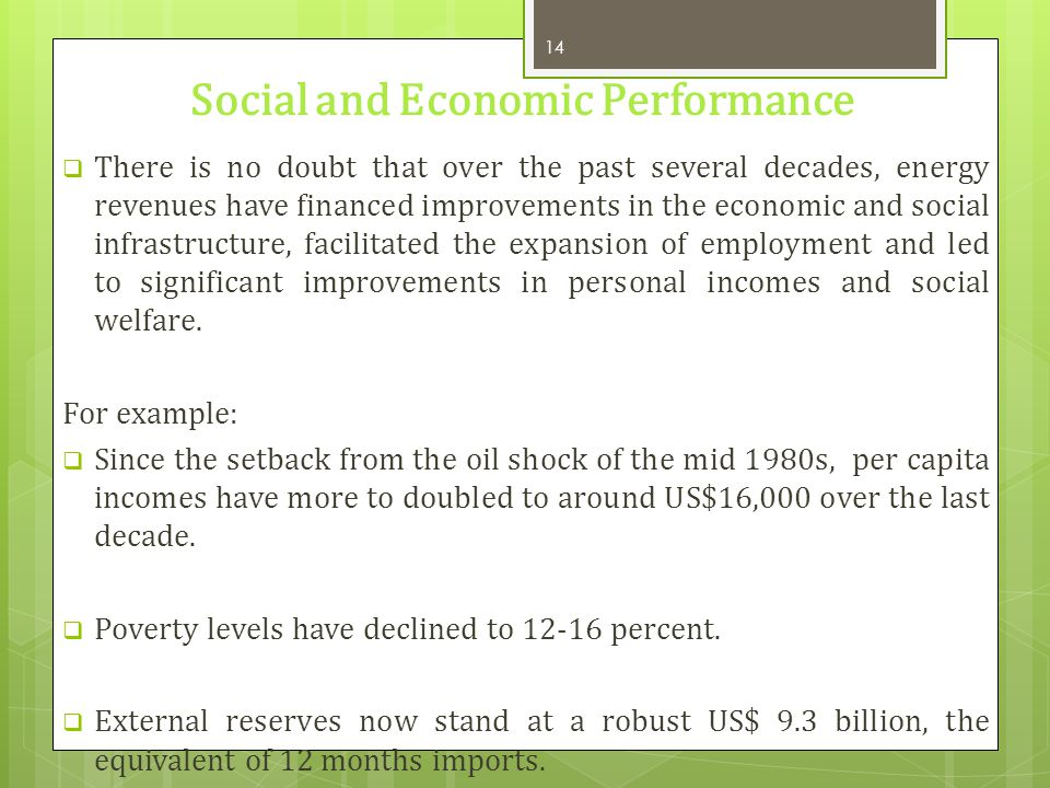 Social and Economic Performance