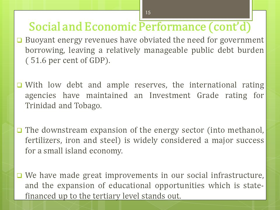 Social and Economic Performance (cont'd)