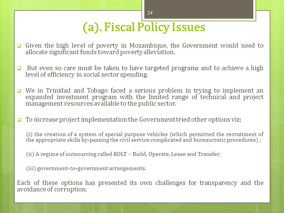 (a). Fiscal Policy Issues