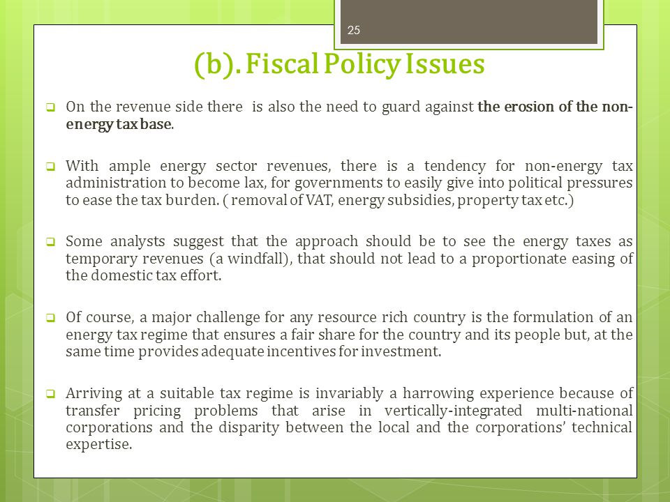 (b). Fiscal Policy Issues