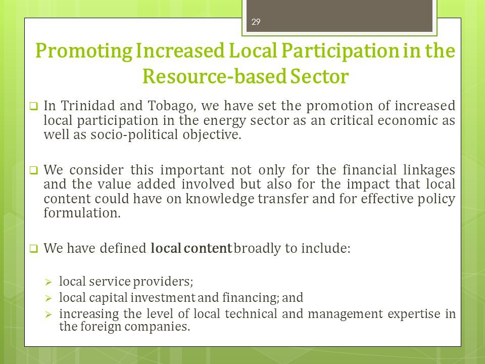 Promoting Increased Local Participation in the Resource-based Sector