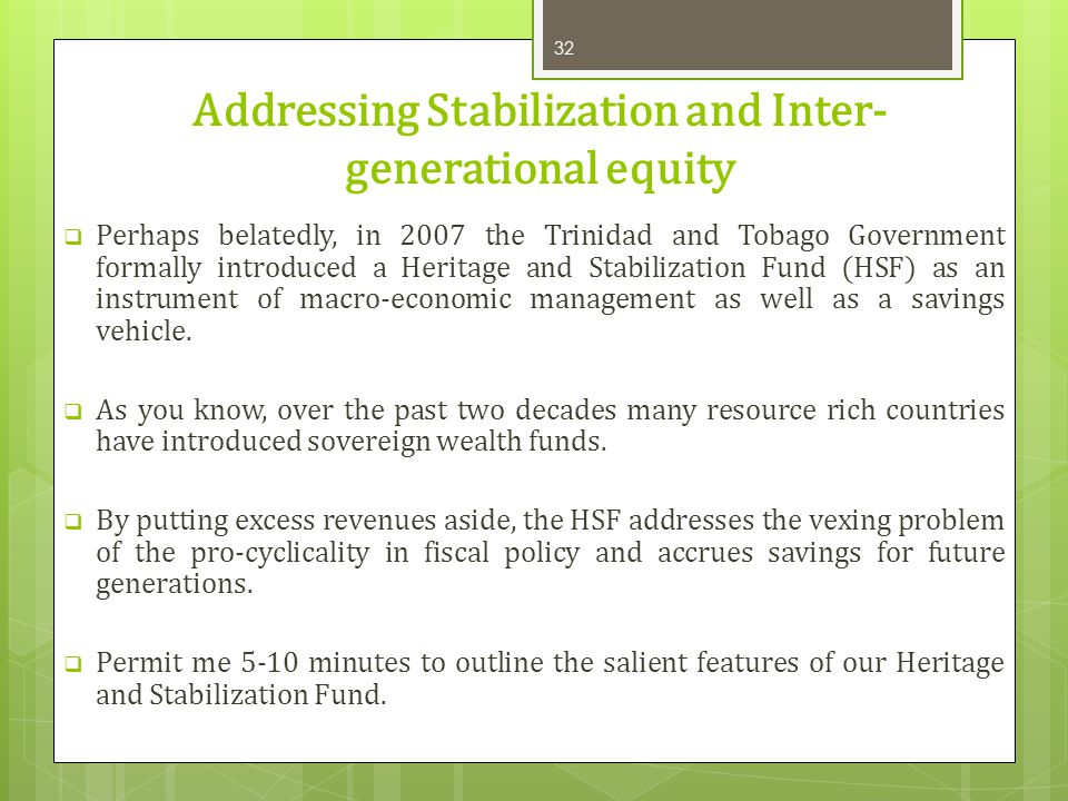 Addressing Stabilization and Inter-generational equity