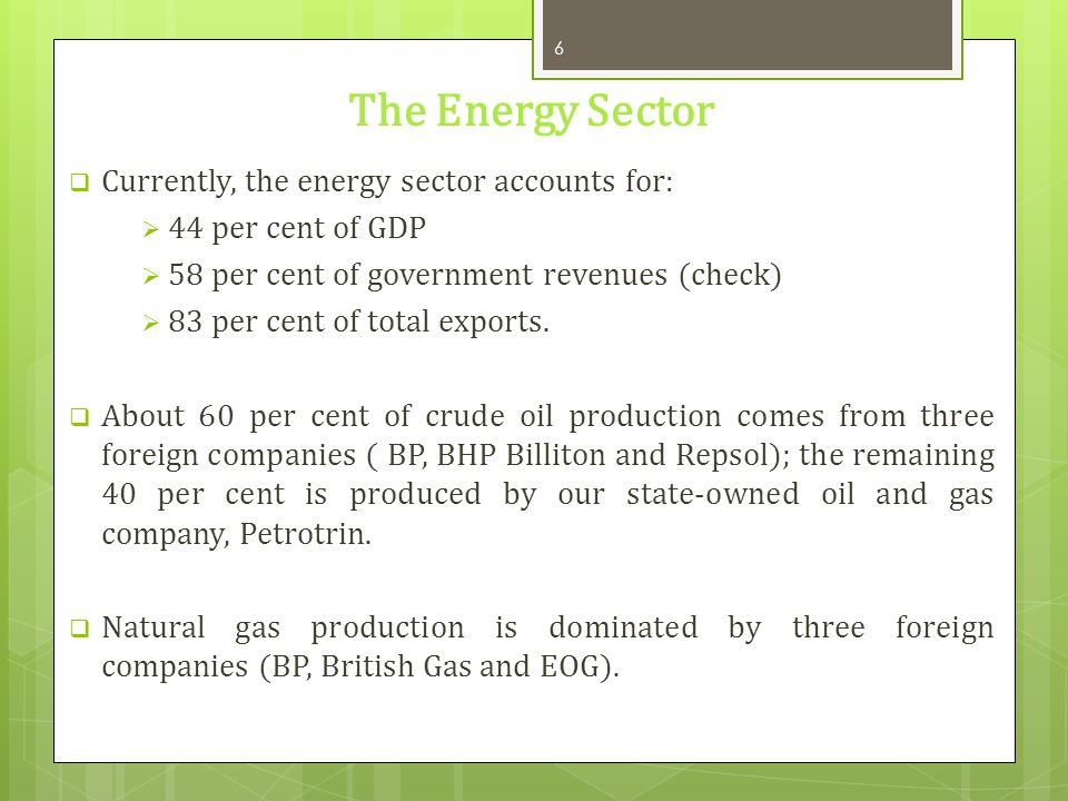 The Energy Sector Currently, the energy sector accounts for: