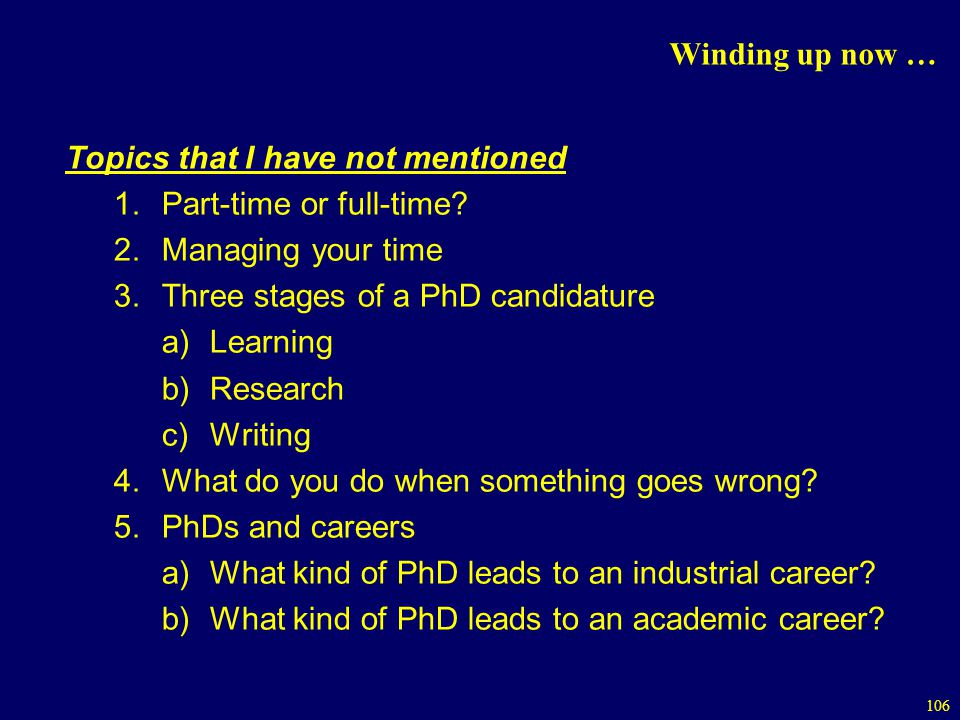 Winding up now … Topics that I have not mentioned. Part-time or full-time Managing your time. Three stages of a PhD candidature.