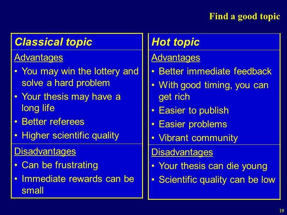 Classical topic Hot topic Find a good topic Advantages Advantages