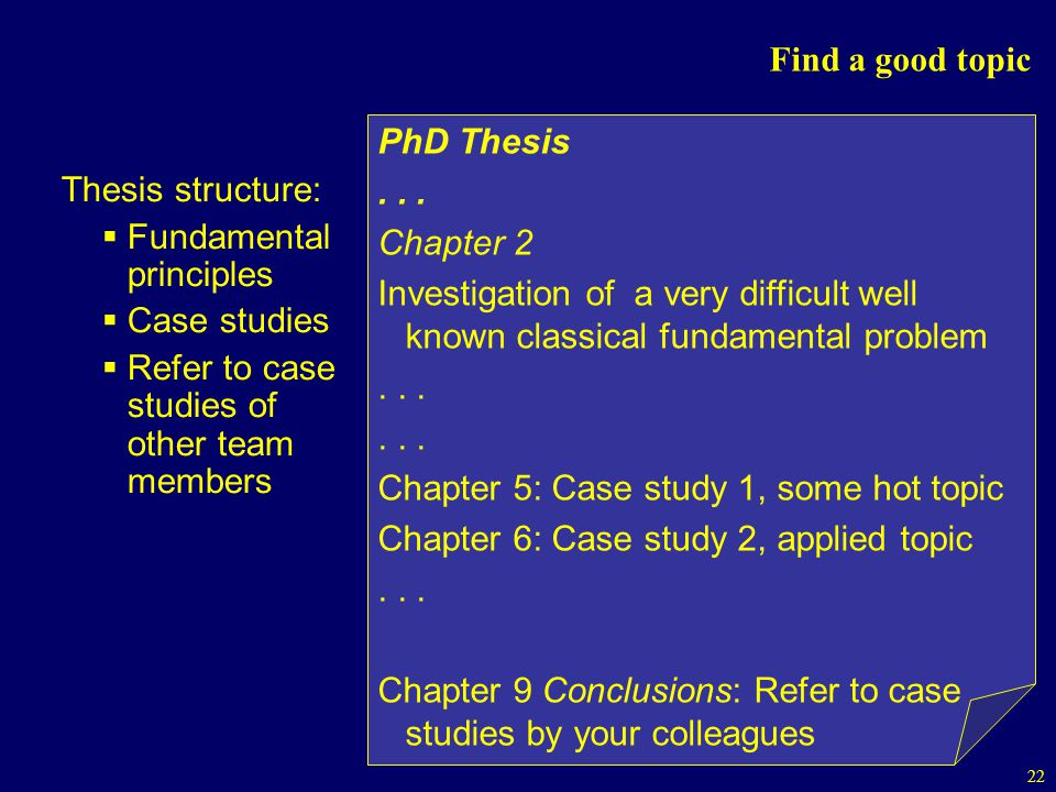Find a good topic PhD Thesis. . . . Chapter 2. Investigation of a very difficult well known classical fundamental problem.