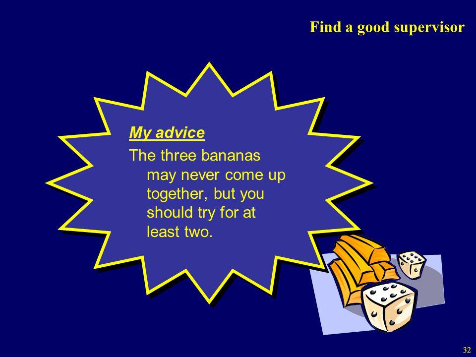 Find a good supervisor My advice.