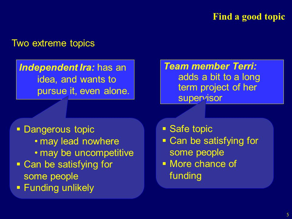 Find a good topic Two extreme topics. Independent Ira: has an idea, and wants to pursue it, even alone.