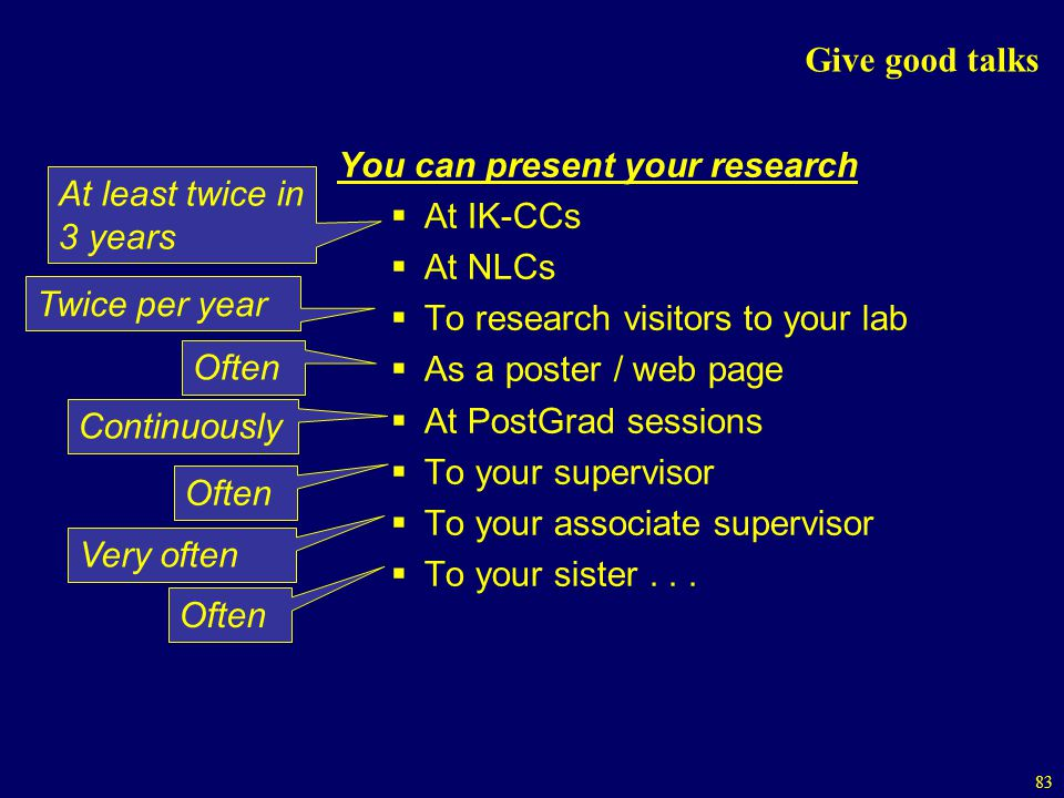 Give good talks You can present your research. At IK-CCs. At NLCs. To research visitors to your lab.