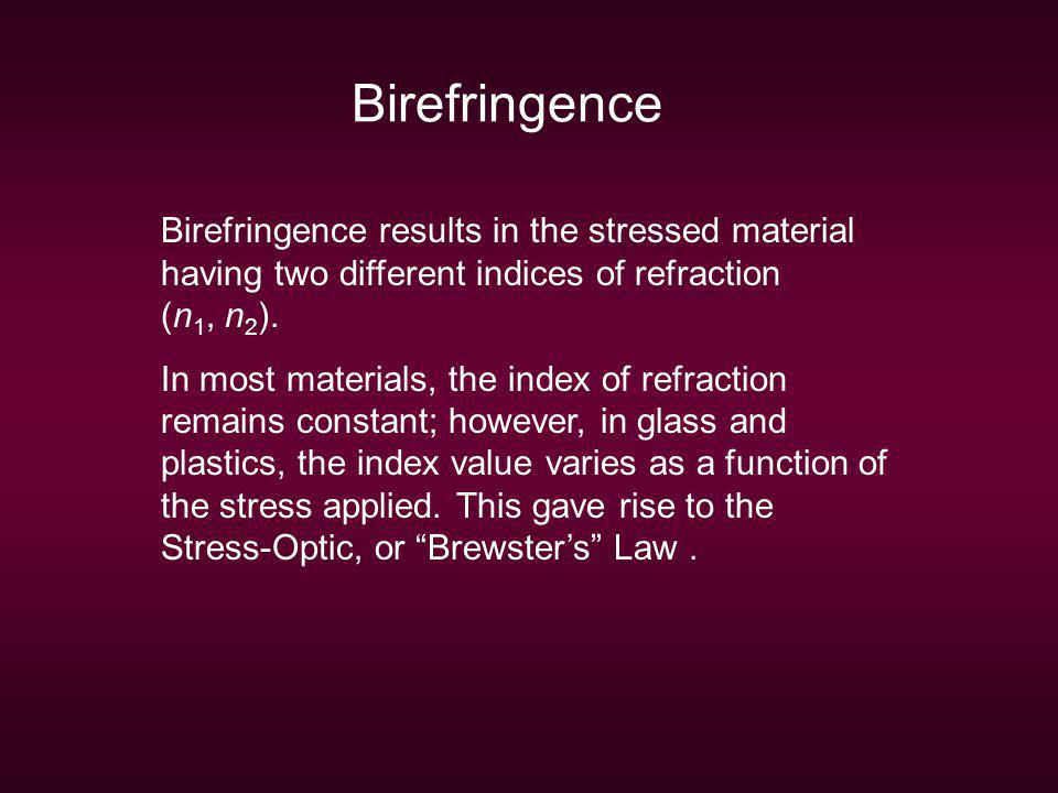Birefringence Birefringence results in the stressed material having two different indices of refraction (n1, n2).
