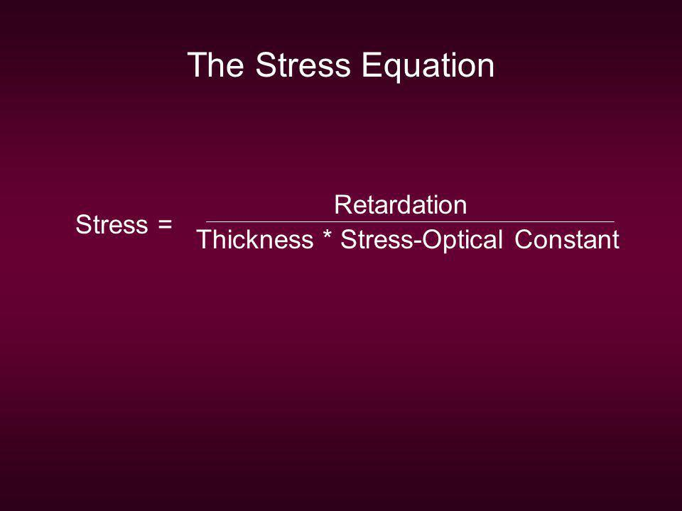 The Stress Equation Retardation Thickness * Stress-Optical Constant