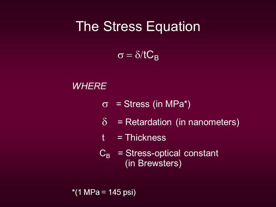 The Stress Equation s = d/tCB WHERE s = Stress (in MPa*)