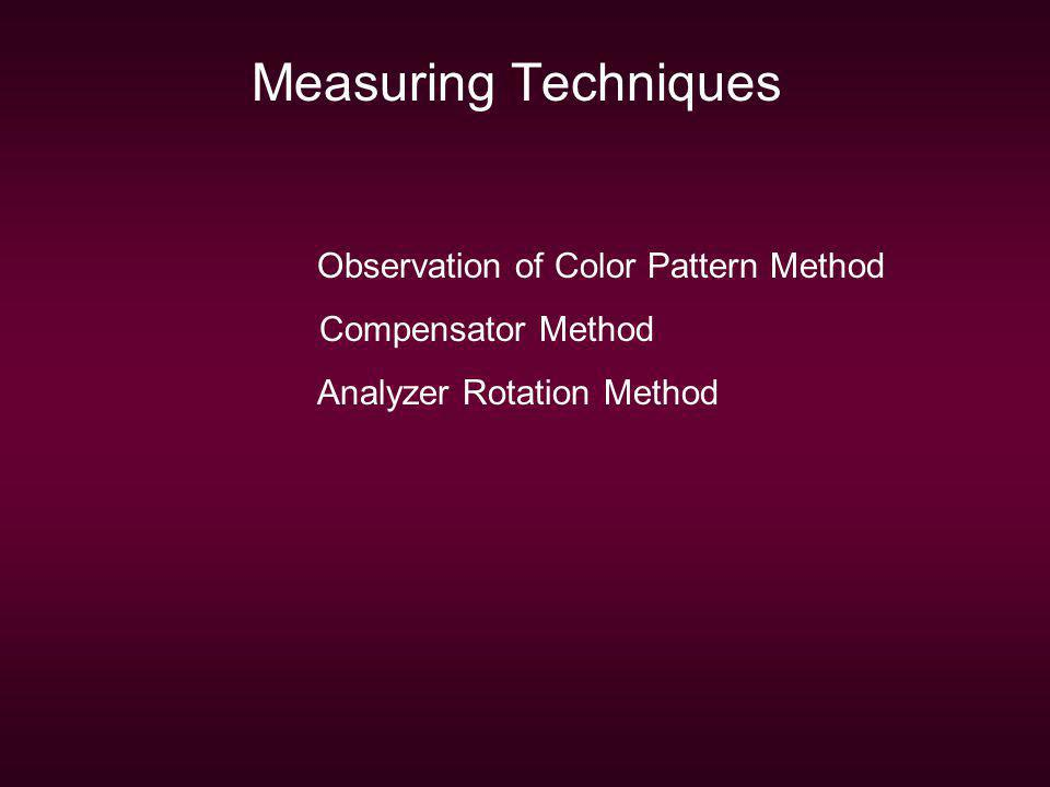 Measuring Techniques Observation of Color Pattern Method
