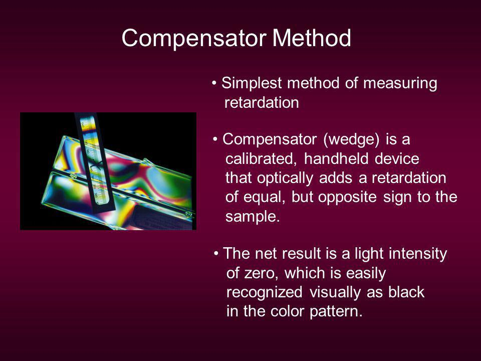 Compensator Method Simplest method of measuring retardation
