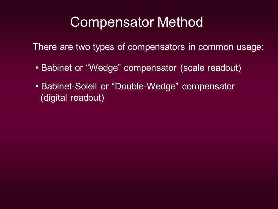 Compensator Method There are two types of compensators in common usage: Babinet or Wedge compensator (scale readout)