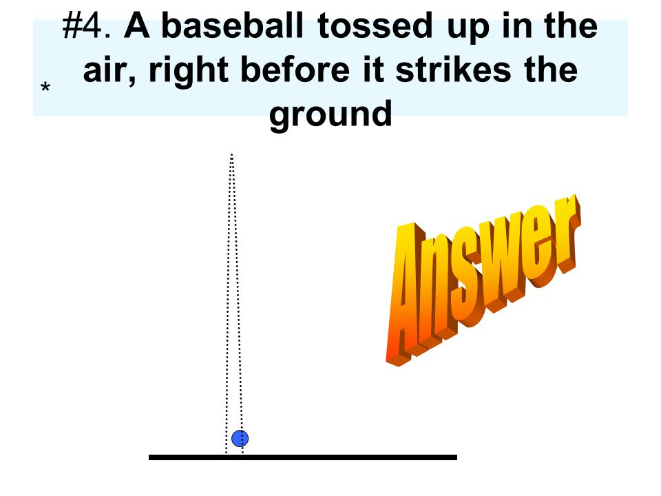 #4. A baseball tossed up in the air, right before it strikes the ground