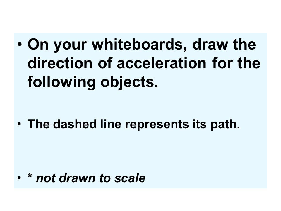 On your whiteboards, draw the direction of acceleration for the following objects.