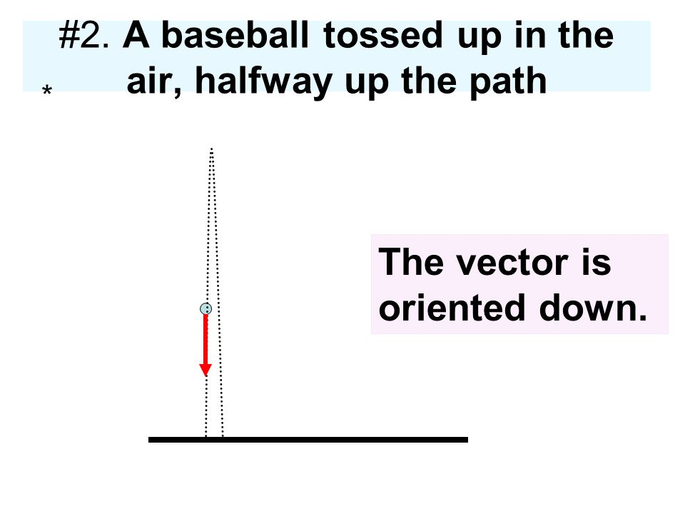 #2. A baseball tossed up in the air, halfway up the path
