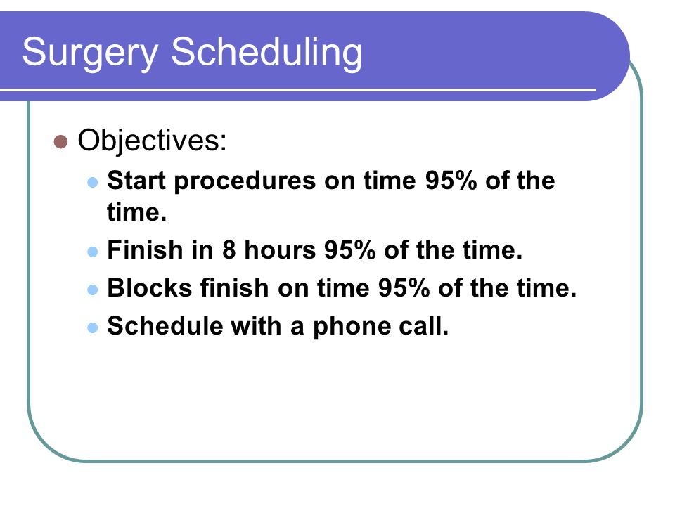 Surgery Scheduling Objectives: