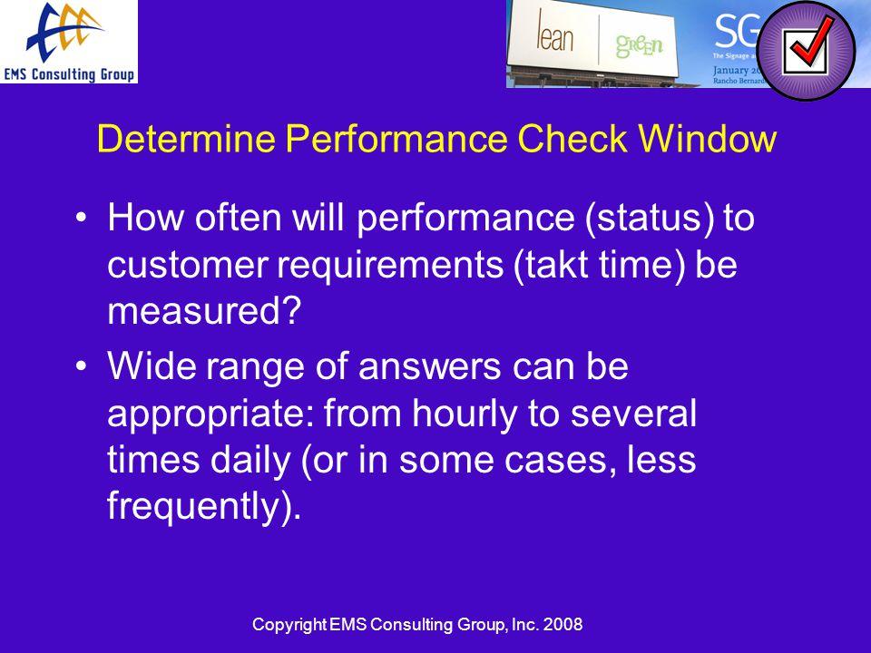 Determine Performance Check Window