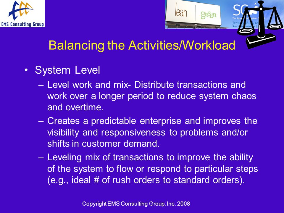 Balancing the Activities/Workload