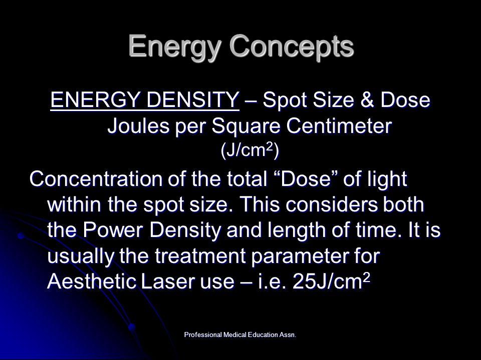Energy Concepts ENERGY DENSITY – Spot Size & Dose Joules per Square Centimeter (J/cm2)