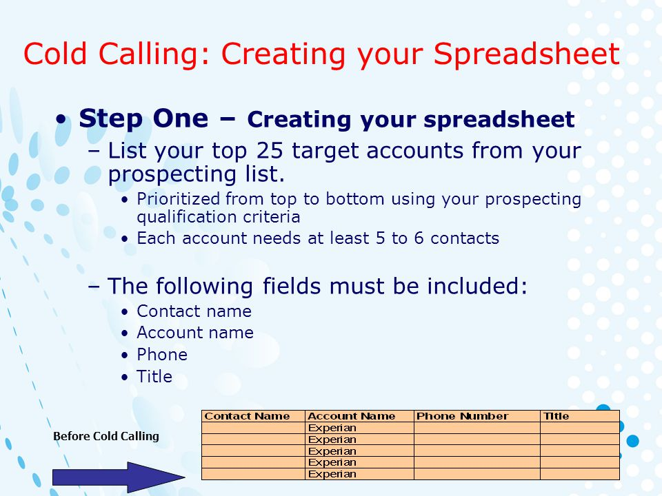 Cold Calling: Creating your Spreadsheet