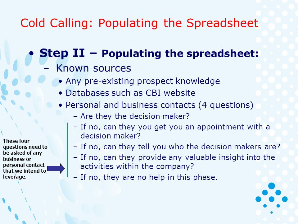 Cold Calling: Populating the Spreadsheet