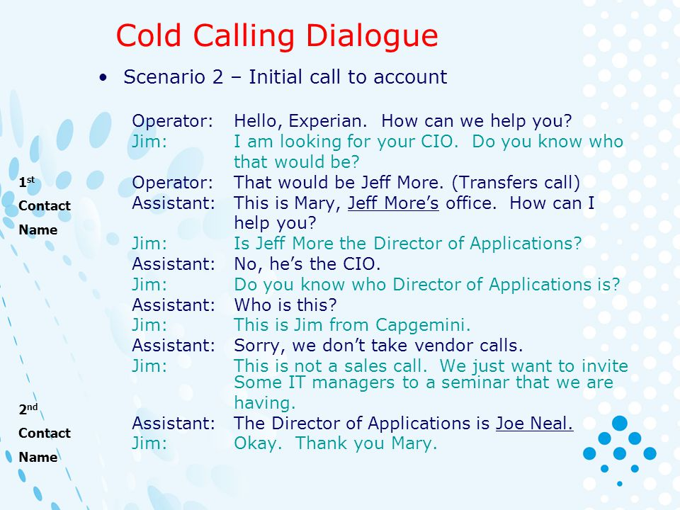 Cold Calling Dialogue Scenario 2 – Initial call to account