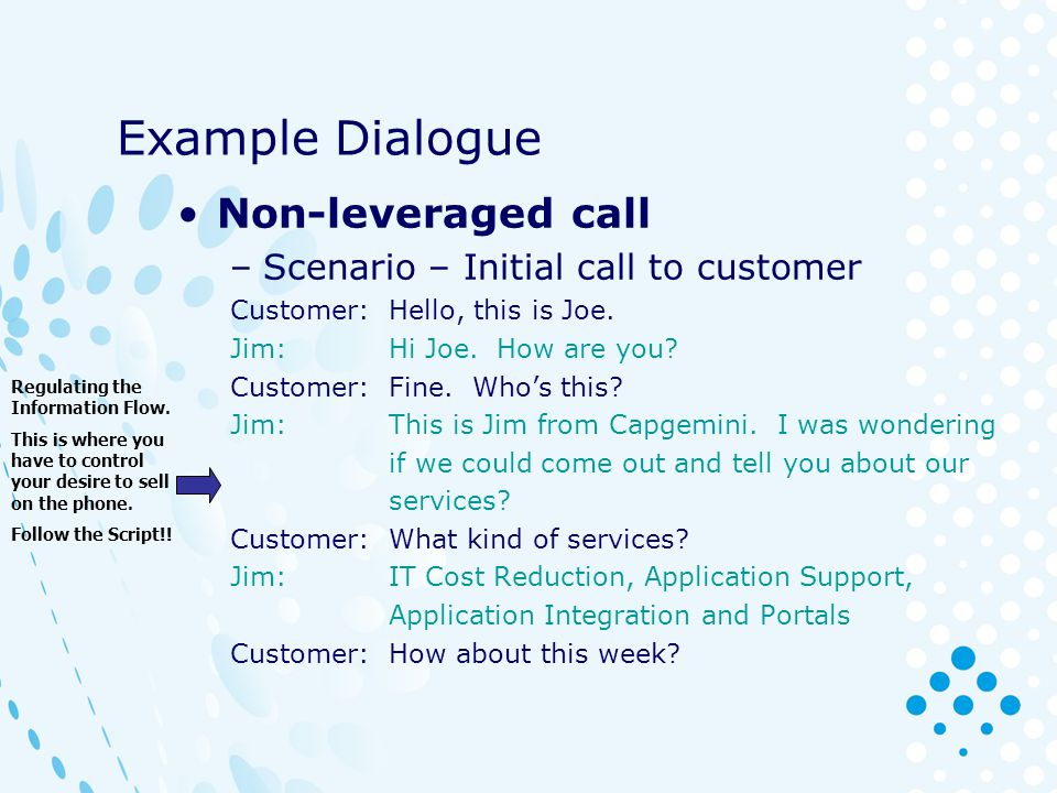 Example Dialogue Non-leveraged call