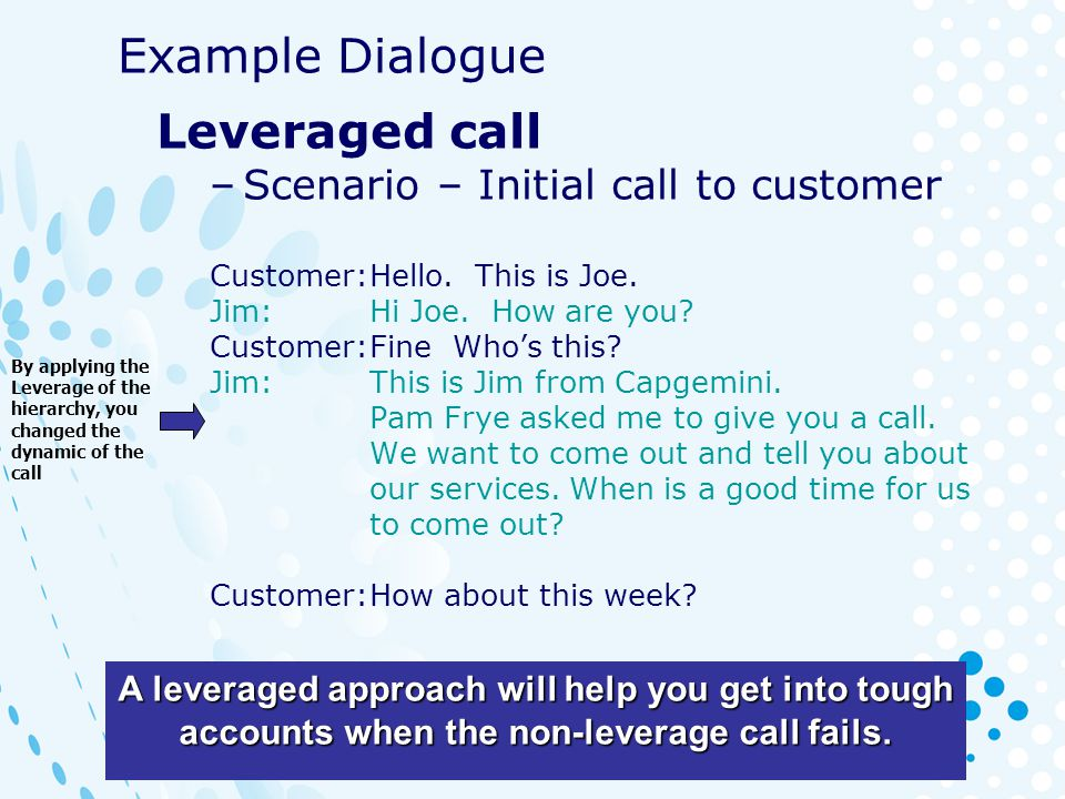 Example Dialogue Leveraged call Scenario – Initial call to customer