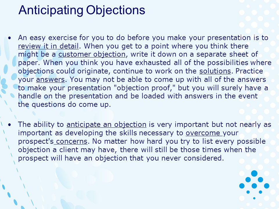 Anticipating Objections
