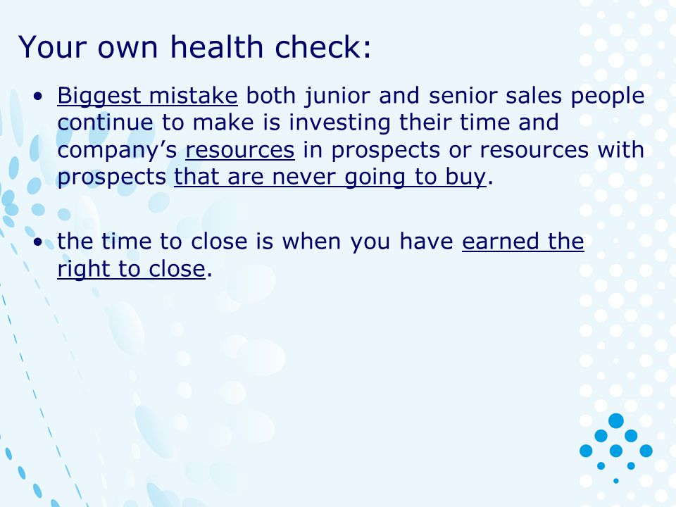 Your own health check:
