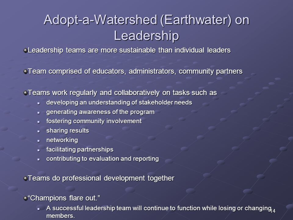 Adopt-a-Watershed (Earthwater) on Leadership