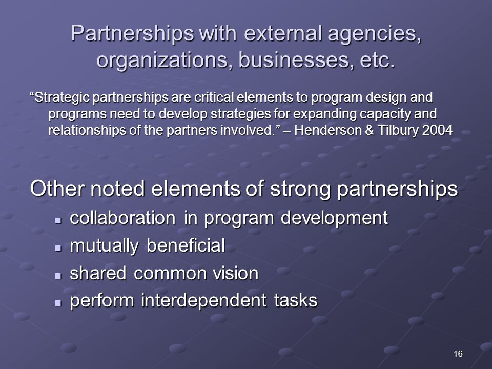 Partnerships with external agencies, organizations, businesses, etc.