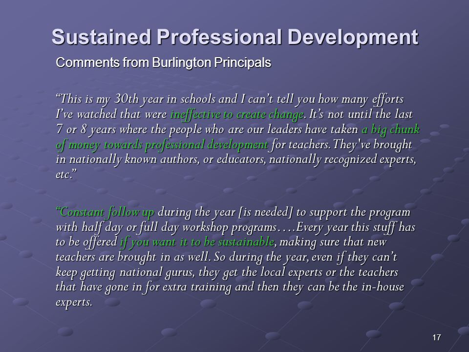 Sustained Professional Development