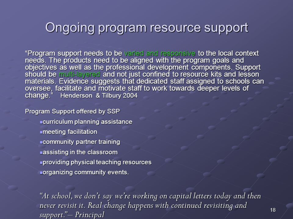 Ongoing program resource support