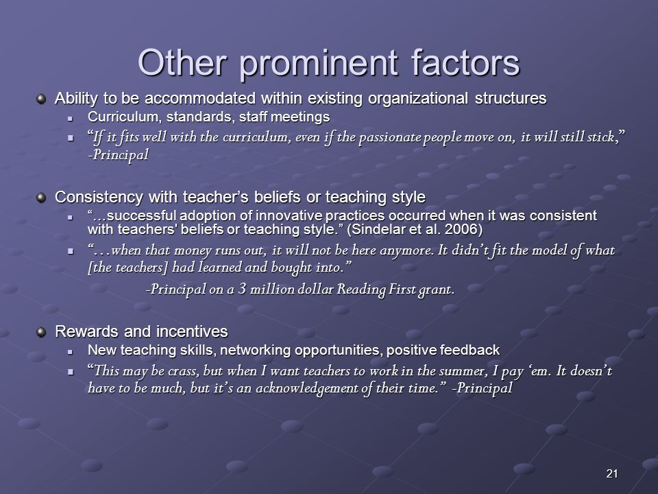 Other prominent factors