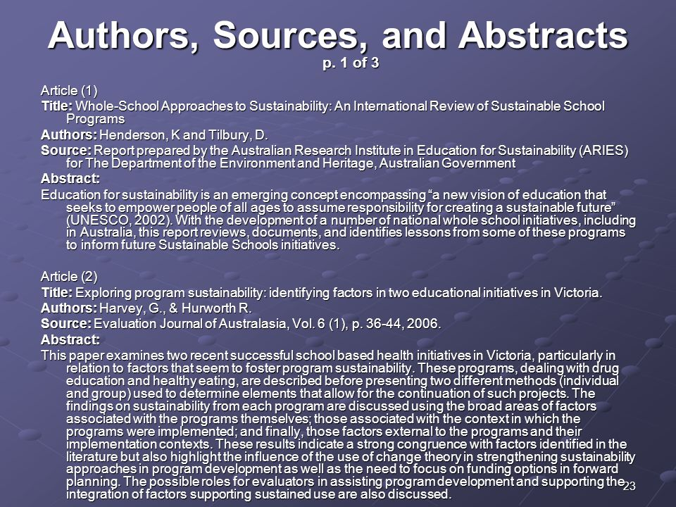 Authors, Sources, and Abstracts p. 1 of 3