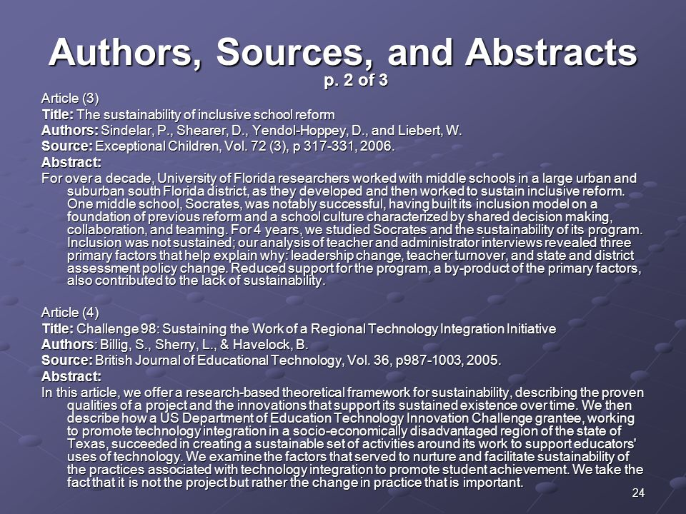Authors, Sources, and Abstracts p. 2 of 3