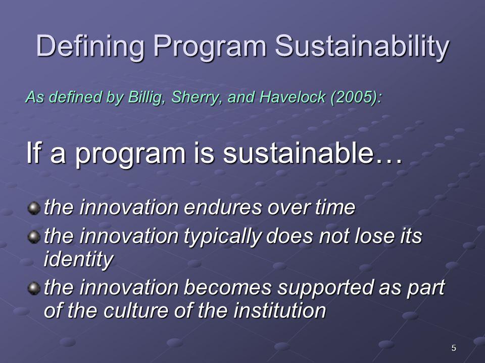 Defining Program Sustainability